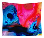 True Colors - Vibrant Pink And Blue Painting Art Tapestry