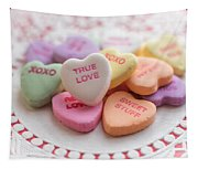 True Love Valentine Candy Hearts Tapestry