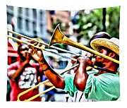 Trumpeter In The Street Tapestry