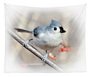Tufted Titmouse Love  Tapestry