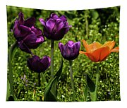 Tulip Time Purple And Orange Tapestry
