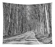 Tunnel Of Trees Black And White Tapestry