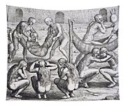 Tupinamba Chief And His Family Fall Ill While Hans Staden Is Held Captive Tapestry