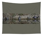 Turtles Sunning On Bank Tapestry