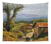 Tuscany Farm Road Tapestry