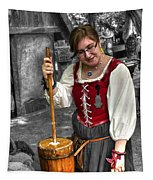 Tutor Milkmaid Churning Butter  V2 Tapestry