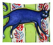 Tuxedo Cat On A Cushion Tapestry