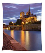 Twilight Over Notre Dame Tapestry