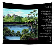 Twin Ponds And 23 Psalm On Black Horizontal Tapestry