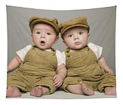Two Babies In Matching Hat And Overalls Tapestry