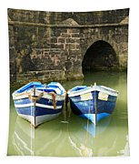 Two Blue Fishing Boats Tapestry