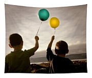 Two Children With Balloons Tapestry