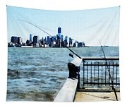 Two Fishing Poles Tapestry