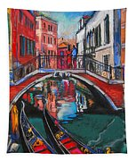 Two Gondolas In Venice Tapestry