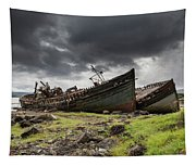 Two Large Boats Abandoned On The Shore Tapestry