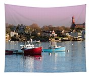 Two Lobster Boats On Marblehead Harbor With A Red Sky Tapestry