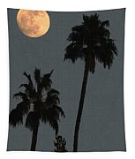 Two Palms And The Moon Tapestry