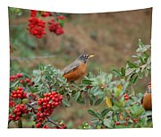 Two Robins Eating Berries Tapestry