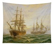 Two Ships Passing At Sunset Tapestry