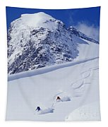 Two Young Men Skiing Untracked Powder Tapestry