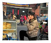 Uighur Street Side Bread Vendor Smokes Shanghai China Tapestry