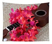 Ukulele And Red Lei Tapestry