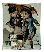 Umbrella In The Snow, Victorian Postcard Tapestry