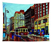 Umbrellas In The Rain Couples Stroll St.catherine Street Downtown Montreal Vintage  City Scene  Tapestry