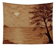 Under Moonlight Original Coffee Painting Tapestry