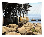 Under The Steinbeck Plaza Overlooking Monterey Bay On Monterey Cannery Row California 5d25050 Tapestry
