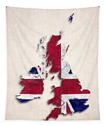 United Kingdom Map Art With Flag Design Tapestry