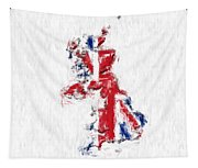 United Kingdom Painted Flag Map Tapestry