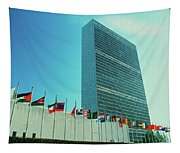 United Nations Building With Flags Tapestry