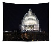 United States Capitol Dome Scaffolding At Night Tapestry