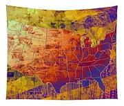 United States Flag Map Vintage 2 Tapestry