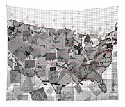United States Map Collage 3 Tapestry
