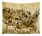 United States Map Collage 4 Tapestry
