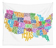 United States Text Map Tapestry