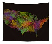 Unites States Watercolor Map Tapestry