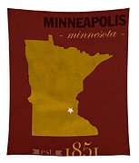 University Of Minnesota Golden Gophers Minneapolis College Town State Map Poster Series No 066 Tapestry