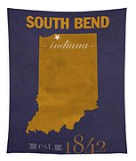 University Of Notre Dame Fighting Irish South Bend College Town State Map Poster Series No 081 Tapestry