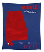 University Of South Alabama Jaguars Mobile College Town State Map Poster Series No 095 Tapestry