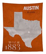 University Of Texas Longhorns Austin College Town State Map Poster Series No 105 Tapestry