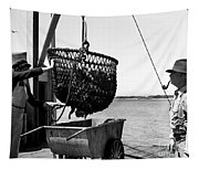 Unloading Fish From Monterey's Wharf Two Circa 1950  Tapestry