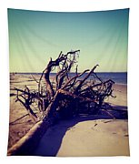 Uprooted Tree On The Beach Tapestry