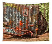 Upside Down Derailed Box Car Tapestry