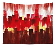 Urban Abstract Evening Lights Tapestry