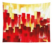 Urban Abstract Red City Lights Tapestry