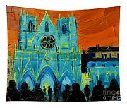 Urban Story - The Festival Of Lights In Lyon Tapestry