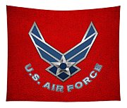 U. S. Air Force  -  U S A F Logo On Red Leather Tapestry